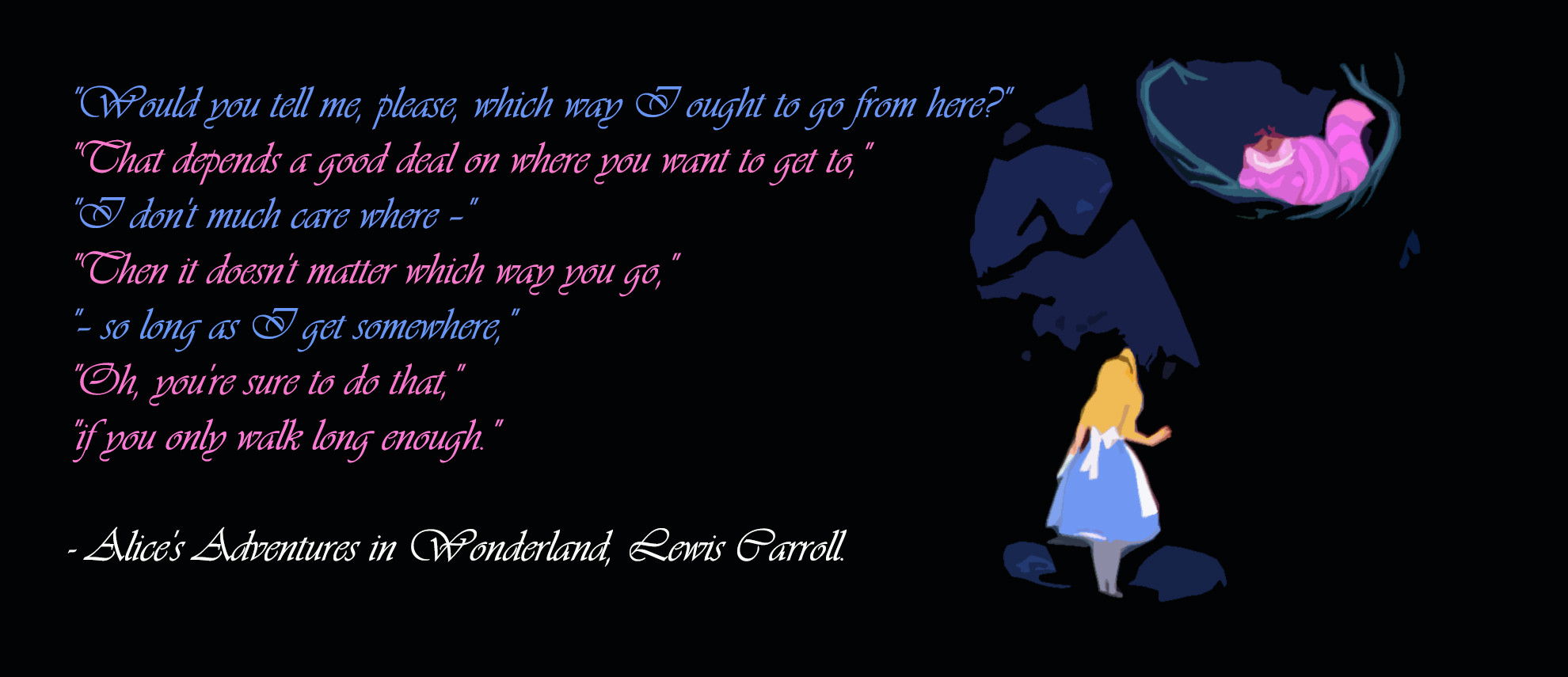 Alice in wonderland asking cheshire cat where to go