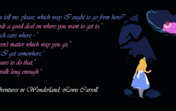 Alice in wonderland asking cheshire cat where to go